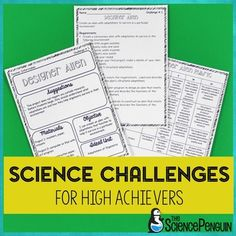 Science Challenges-- 10 easy prep activities for your high achievers $