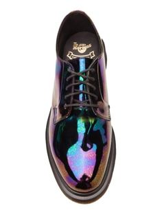 Rainbows on shoes.    dr. martens - oil slick