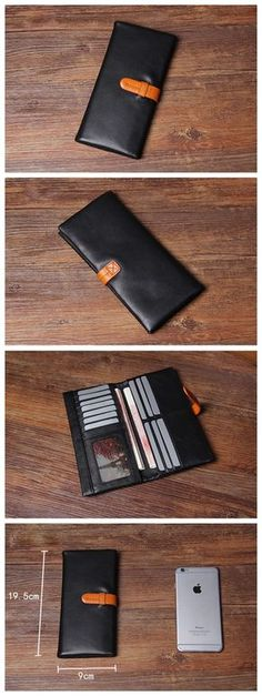 Handmade Genuine Leather Long Wallet Money Purse Card Holder iPhone Case 0980 Overview: Design: Vintage Genuine Leather Wallet In Stock: Ready to Ship (2-4 days) Include: Only Wallet Custom: No Color: