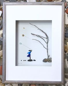 Pebble Art Girl with Balloons Modern Wall Art Abstract Contemporary in Shadow Box Signed. by SusiUhlArt on Etsy