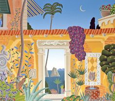 Thomas McKnight - Sorrento Courtyard (Amalfi Coast), hand-signed serigraph #FineArt #ArtPrints - Visit to purchase