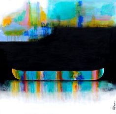 Parfois il y a de ses lumières, mixed media canoe painting by Sylvain Leblanc   Effusion Art Gallery + Cast Glass Studio, Invermere BC River Painting, Boat Painting, Contemporary Decor, Modern Decor, Art Gallery, Canadian Artists, House Colors, Landscape Paintings, Kayaking