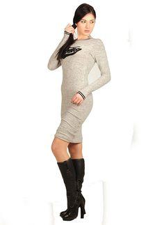 Bayan Elbise Kadife Baskılı Gri | Modelleri ve Uygun Fiyat Avantajıyla | Modabenle