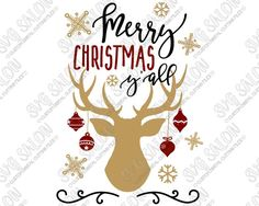 Merry Christmas Y'all Antlers Cut File in SVG, EPS, DXF, JPEG, and PNG