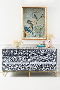 Apr 2020 - Scroll Vine Inlay Six-Drawer Dresser by Anthropologie in Blue Size: M, Tables Hanging Furniture, Art Deco Furniture, Design Furniture, Painted Furniture, Home Furniture, Furniture Ideas, Three Drawer Dresser, Dresser Drawers, Diy Ikea Hacks