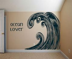 @kimzemla... this is what I was thinking for the nursery wall... this site has different types of waves. Huge Surf Ocean Wave Swirl Art  vintage inspired  by 3rdAveShore, $390.00