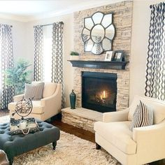 Cozy Living Room Ideas for Your Home Decoration is part of Living Room Inspiration Cozy - xxxxx Cozy Living Rooms, Home Living Room, Living Room Designs, Living Spaces, Living Room Decor Fireplace, Neutral Living Rooms, Fireplace Furniture Arrangement, Blue Curtains Living Room, Romantic Living Room