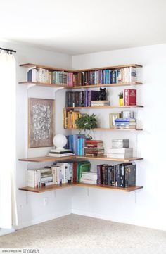 Build & Organize A Corner Shelving System - A Beautiful… na Stylowi.pl