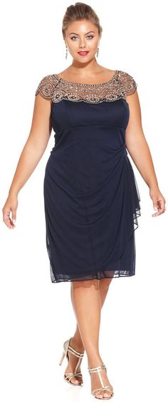 Xscape Plus Size Cap-Sleeve Beaded Dress