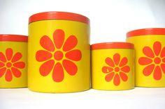Vintage Mod Canister Set, 1970s Yellow & Orange Daisies, Flower Power Hippie Decor