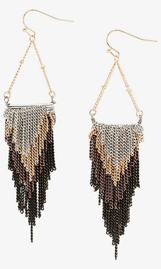 love these! Multicolor Metal Fringe Dangle Earrings from EXPRESS