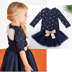 Navy Blue Layered Tutu Dress with Bow Clothing Set for Girls 2-6T