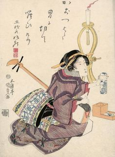 Woman with shamisen. Ukiyo-e woodblock print, 1818-24, Japan, by artist Utagawa Kunisada I