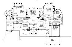 Plan 12194JL: European Chateau Style Extravagance
