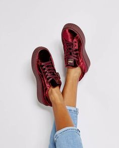 Puma red velvet creepers shoe collection is not complete until you ve got a  pair of velvet creepers by Fenty Puma x Rihanna. ed003f0f8