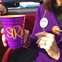 Football Season Photo Diary: We are always drinking in style with our monogrammed acrylic purple and gold solo cups #PreppyPlanner