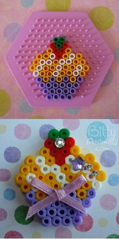 Strawberry Topped Cupcake perler beads