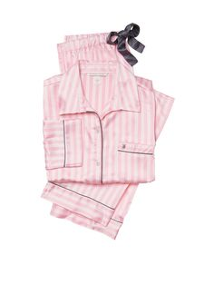 Secret Victoria 's Secret The Afterhours Satin Pajama set Pink Stripe Pijama Satin, Satin Sleepwear, Satin Pyjama Set, Satin Pajamas, Pajama Set, Vs Pajamas, Pajamas For Teens, Cute Pajamas, Pajamas Women