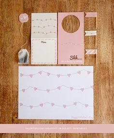 Valentine's Day breakfast in bed kit {printables} via design is yay!