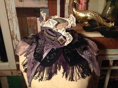Intricate victorian mourning capelet collar by the window lady antique vintage materials tattered lace glass beads OOAK gothic punk romantic