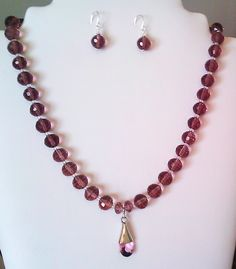 Amethyst, crystal and silver necklace -   gemstone jewellery