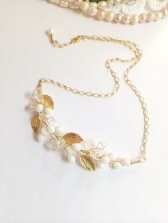 Gold bridal necklace wedding necklace bridal by FlowerRainbow