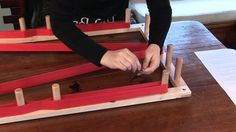 There are many ways to wind a warp for your table loom. Here is one way - using the warping frame and making two crosses. Warping your loom part 1 http://you...