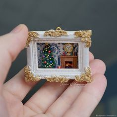 Christmas miniature roombox – shop online on Livemaster with shipping Vitrine Miniature, Miniature Rooms, Miniature Crafts, Miniature Figurines, Miniature Christmas, Christmas Minis, Matchbox Crafts, Matchbox Art, Altered Tins