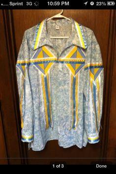 Ribbon shirt Native American Clothing, Native American Regalia, Native American Fashion, Aboriginal Clothing, Native Fashion, Native Wears, Ribbon Skirts, Beadwork Designs, Iroquois