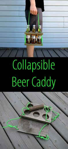 I used reclaimed wood to make this easy-to-store, collapsible beer caddy. #woodworkingideas