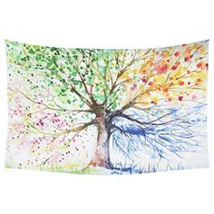 InterestPrint Watercolor Home Decor Four Season Tree Abstract Modern Painting Artistic Artwork Tapestry Wall Hanging Sets 90 X 60 Inches -- You can get additional details at the image link.-It is an affiliate link to Amazon. #Tapestries