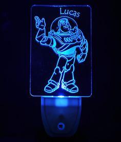 Disney Toy Story Buzz Lightyear Light Sensor LED Plug In Night Light, Personalized Custom LED Nightlight by NeedForLight on Etsy