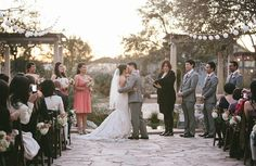 courtyard ceremony   Early March Wedding   Lady Bird Johnson Wildflower Center   Pearl Events Austin   Andrew Chan Photography