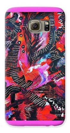 Scratched And Mauled To A Very Happy Result .hot Reds And Pinks .swaths Of Black Scratched For Texture . Small Accents Of Yellow Galaxy S6 Case featuring the painting Shots In The Dark by Expressionistartstudio Priscilla-Batzell