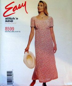 McCALLS SEWING PATTERN - 8599 4,6,8,10 PULL OVER DRESS WITH EMPIRE WAIST BACK TIE