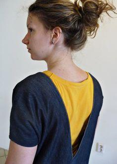 Upside down upcycled jeans/denim dress