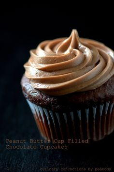 Peanut Butter Cup Filled Chocolate Cupcakes