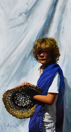 """El vendedor de sombreros"" / Seller of hats. By Jose Higuera 92x50 cm. oil on canvas figurative painting. http://www.josehiguera.com  · http://www.facebook.com/joseyhiguera"