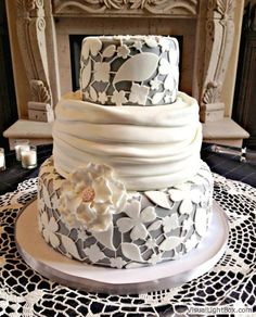 Gray and White Lace Wedding Cake