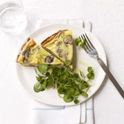 This springy Leek, Mushroom and Ricotta Cheese Frittata works hot or cold for brunch or lunch. #brunch #frittata