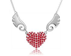 Angel Wings. Alloy Pendant Necklace with Red Swarovski Elements Crystal.