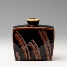 Phil Rogers  |  Press-moulded bottle, temnoku.