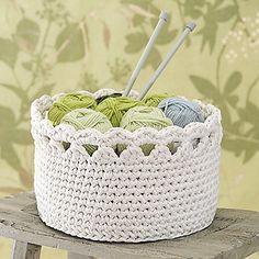 OHJE: Esteri-kori Diy Crochet Basket, Crochet Bowl, Crochet Basket Pattern, Love Crochet, Beautiful Crochet, Crochet Yarn, Yarn Crafts, Diy And Crafts, Crochet Edgings