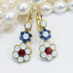 Blue white red Earrings drop earrings Patriotic 4th of by TIMATIBO