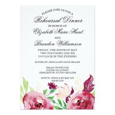Floral Wedding Rehearsal Dinner Spring Florals | Rehearsal Dinner Invitation