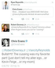 Chris Evans and RDJ on deadpool's Ryan Reynolds Avengers Memes, Marvel Jokes, Marvel Funny, Marvel Dc Comics, Marvel Avengers, I Understood That Reference, Marvel Actors, Mood, Chris Evans