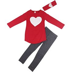 Jastore Kids Girl Cute Heart Shaped Clothing Set Long Sleeve Top Leggings 56 Years Red *** Find out more about the great product at the image link. (This is an affiliate link) Tops For Leggings, Leggings Are Not Pants, Toddler Girl Outfits, Kids Outfits, Girls Dress Up, Valentines Day Shirts, Kids Girls, Toddler Girls, Baby Girls