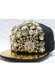 Spike Embellished Leopard Metal Cap - OASAP.com