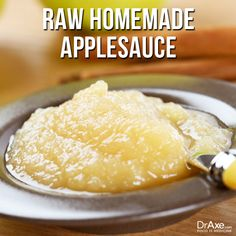 Raw Homemade Applesauce: Ingredients-     3 apples, peeled, cored and sliced     1 tablespoon lemon juice     1 teaspoon cinnamon For directions--> http://draxe.com/recipe/raw-homemade-applesauce/ #draxe #healthy #recipe #raweating