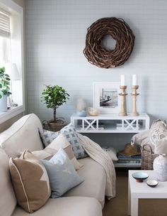 Summer feeling in my second living room. Scandinavian, light blue, white and nature with a coastal touch. http://anettewillemine.blogspot.no/